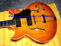 Wholesale Es Semi Hollow - Custom shop Johnny JAZZ es Electric Guitar Honey burst Flame guitars from china
