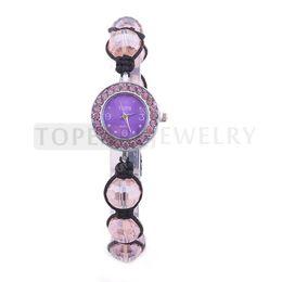Wholesale Quartz Shamballa Watch Bracelet - Teboer Jewelry 3pcs LOT Pink Shamballa Ball Beads Crystal Bracelet Watch for Ladies WJ11237