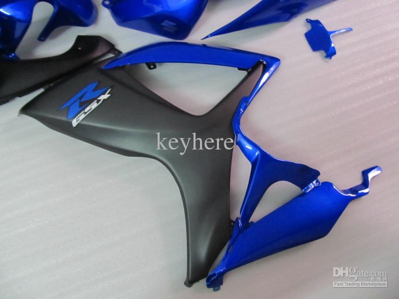 Högkvalitativ formsprutad Fairings Kit för Suzuki 2006 2007 GSX-R600 GSXR750 06 07 GSXR 600 750 K6 Blue Flat Black Full Fairing ZZ759