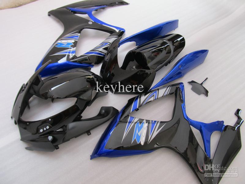 5 Gåvor Injektionsgjuten fairing för Suzuki 2006 2007 GSX-R600 GSXR750 06 07 GSXR 600 750 K6 Corona Dark Blue Fairing Set 67U02
