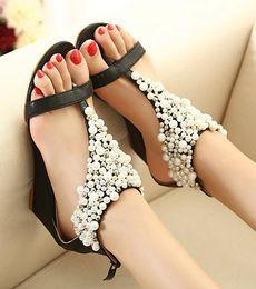 Wholesale Wood Wedge Sandals - Wholesale sandals Bohemian Fashion Beads Pearls Low heels ladies flat gladiator sandal Flip Flops