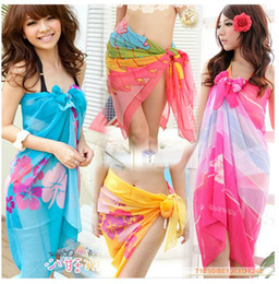 Wholesale Cover Ups For Women Wholesale - Sexy Beach Swimwear for Women Colorful Sheer Chiffon Cover up Wrap Beach Bikini Shawl Floral Scarf Silky Tulle Bohemian Dresses