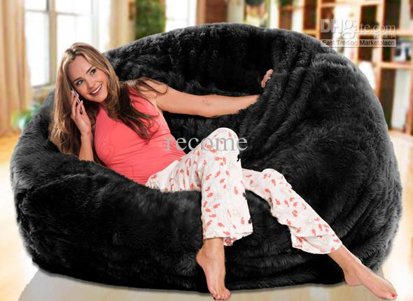 Oversized Bean Bag Chair Cover Chairs Cheap Ikea Bags Long Fur Black Beanbag