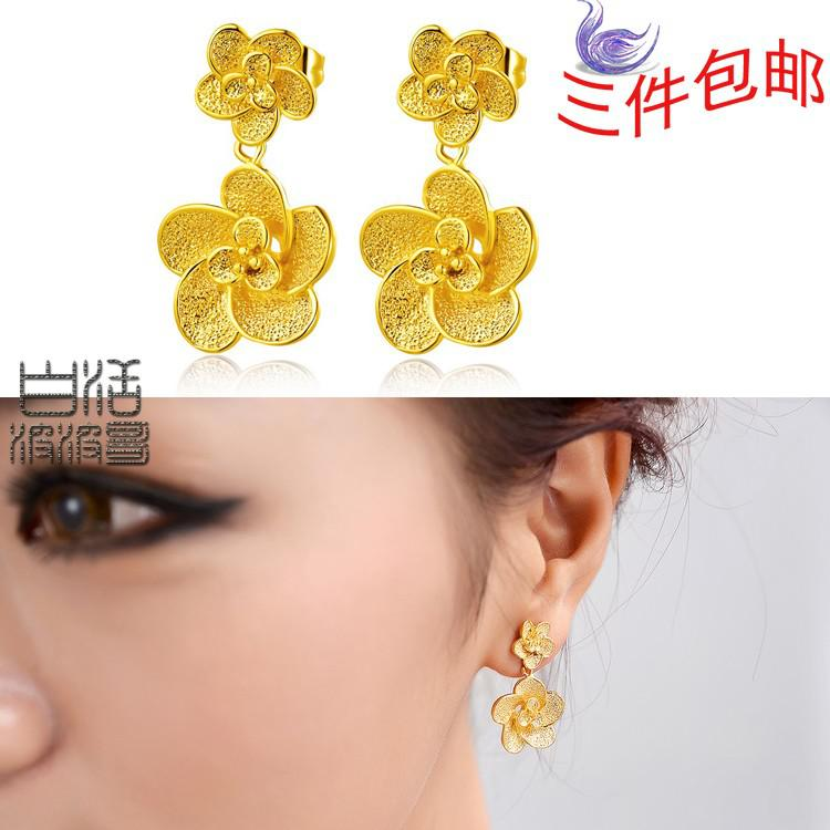 High Imitation Gold Alluvial Gold Earrings Double Roses Models on ...