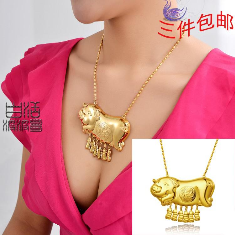 Daikin pig smooth golden plated necklace 999 millipede gold jewelry daikin pig smooth golden plated necklace 999 millipede gold jewelry gold shop gold chak 11 mozeypictures Gallery