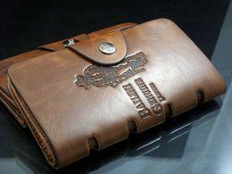 Wholesale Designer Mens Wallet Long - 2016 Men New Brand Designer Wallets Mens Wallet Leather Long men Casual Pockets Card Clutch Center Bifold Purse Dark Brown
