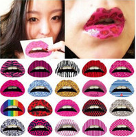 Wholesale Tattoo Transfers Lip - New Fashion Makeup Lip Temporary Tattoo Sticker Cosmetic Instant Transfer Party Stage Halloween Sexy Tattoos Stickers 50 Designs Mix