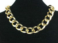 "Wholesale Aluminum Chain Necklace - 2013 New Fashion Shiny Cut LIGHT GOLD Plated Chunky Aluminum Curb Chain Necklace 18"" Link Necklace"