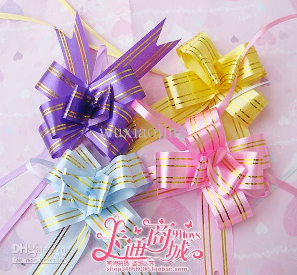 Golden Lace 3*48cm Pull Flower Ribbon Bow Party Ornament Gift Wrap ...