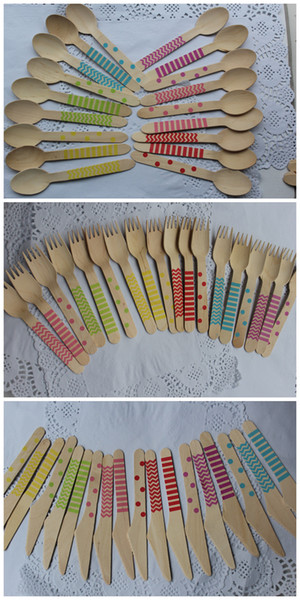 "1080pcs 6.25"" Wooden Utensils Cutlery Set Disposable Wooden Spoon Fork Knife in Rainbow Chevron Stripe Polka Dots Free Ship DHL/EMS/FEDEX"