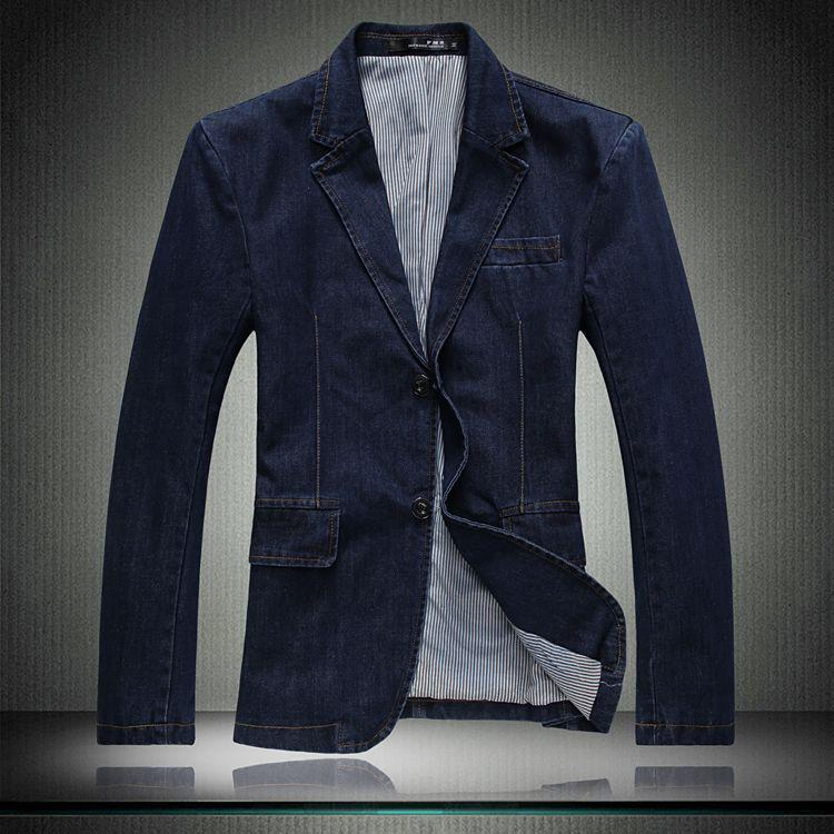 Online Cheap Men's Denim Suit Jeans Jacket Coat Winter Coat Denim ...