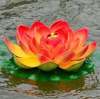 ingrosso fiore di loto galleggiante bianco artificiale-29CM Simulazione loto Fiore Seta artificiale Loto galleggiante acqua Fiore Casa giardino Decor Rosa rosso bianco verde arancio colore viola