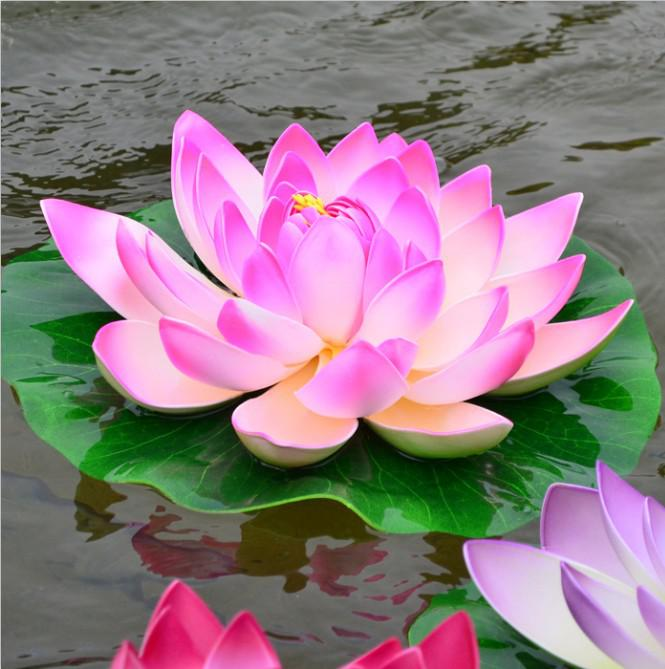 29 CM Simulation lotus fleur artificielle soie Lotus flottant eau fleur maison jardin décor rose rouge blanc vert orange violet couleur