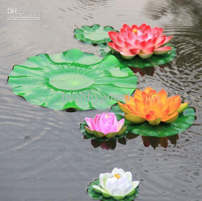 / 29 CM Simulation Lotus Fleur Artificielle Soie Lotus flottant fleur d'eau Maison jardin réservoir de poissons Décor livraison gratuite
