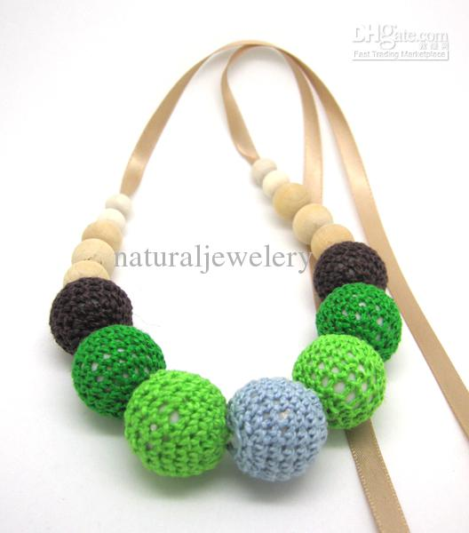 Handmade Crochet ball coffee fade green nursing Teething necklace knit ball necklace bead breast feeding safe baby child NW1342