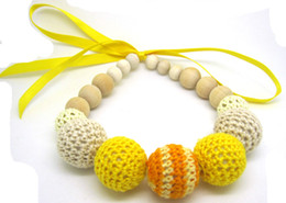 $enCountryForm.capitalKeyWord NZ - Crochet ball nursing Teething necklace yellow fade orange knit ball necklace Christmas gift breast feeding eco friendly NW1338