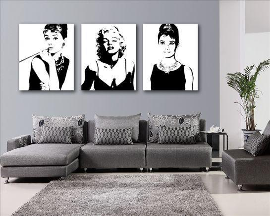 2018 Abstract Wall Art Marilyn Monroe Audrey Hepburn Oil Painting On ...