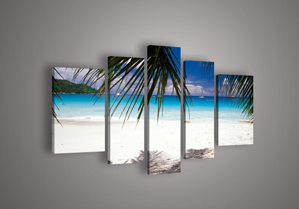 5 Panel Wall Art shop paintings online, 5 panel wall art beach and palm tree blue
