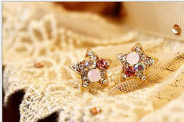 Wholesale Wholesale Fashion Jewelry Star Earrings - Jewelry Fashion Trendy Sweet Star Shaped Stud Earring with Colorful Simulated Diamon