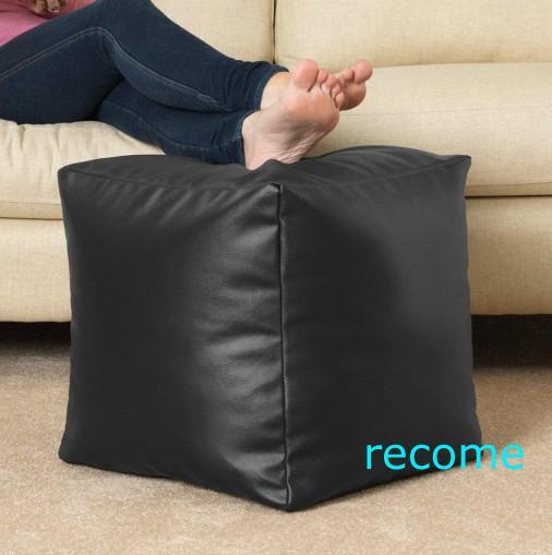 Cube Bean Bag Faux Leather Black Beanbag Footstool 100