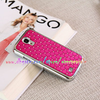 Wholesale S4 Case Chrome - Luxury Bling Starry Chrome Electroplate Frame bumper Diamond Rhinestone Hard Plastic case cover cases for Samsung Galaxy SIV S4 I9500 100pcs