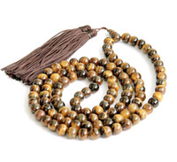 Wholesale Earring Prayer - 8mm Tiger Eye Gem Tibet Buddhist 108 Prayer Beads Mala Necklace