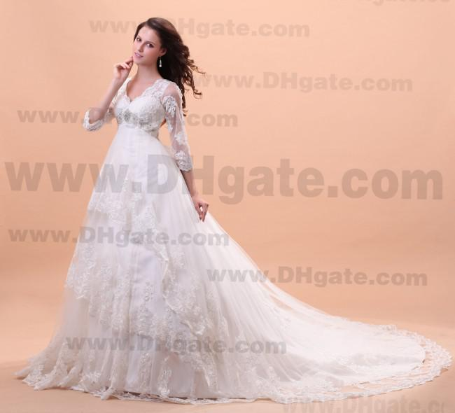 Stunning!!3/4 Long Sleeve!!2013 Best Design New Fashion V-neck Empire Applique Crystal Custom Made Organza Wedding Dresses