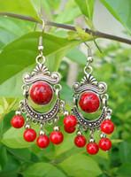 Wholesale Wonderful Earrings - 10pcs Pair Wonderful Tibet Silver Asia Red Coral beads earrings Wholesale Price