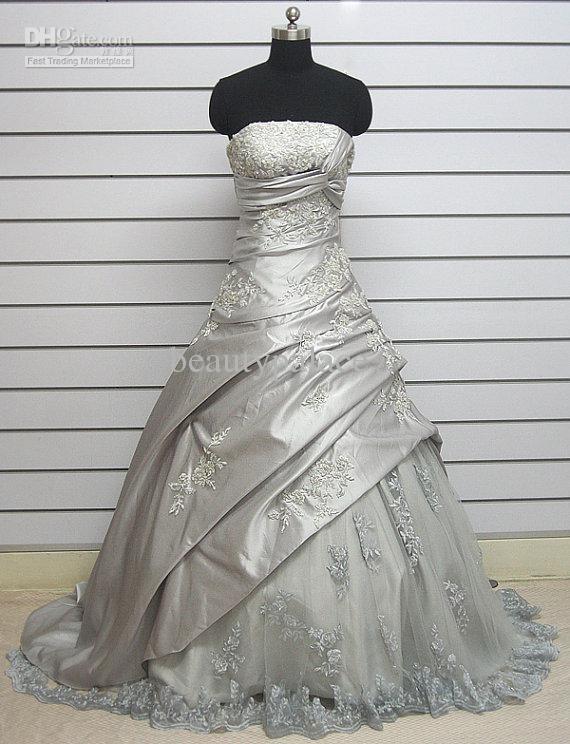 Frete grátis vestido de baile strapless tribunal trem cinza tafetá plissado rendas apliques de casamento por atacado vestidos de casamento vestidos de noiva vestidos