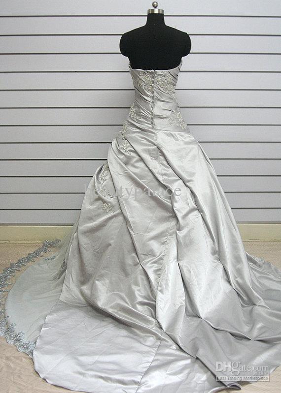 Trasporto libero abito di sfera senza spalline corte taffetà grigio plissettato appliques di pizzo all'ingrosso abiti da sposa abiti da sposa abiti da sposa