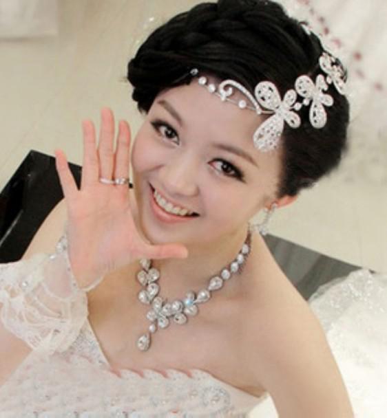 Recent Korean Rhinestones Short Hair The Bride Head