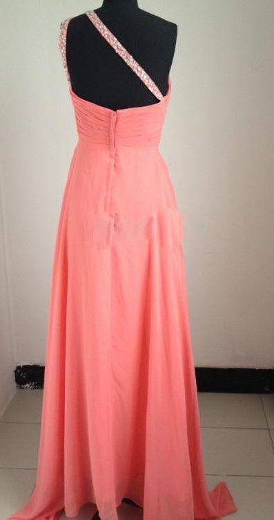 Wholeale, una línea, un hombro, tren de barrido, Watermeon, coral, rosa, gasa, cuentas plisadas, frente, muestra real, vestidos de baile, vestidos de noche.