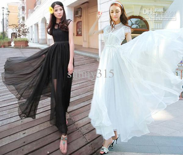 Summer Women Vintage Lace Chiffon Dresses Floor-Length Billowing ... 36e55c7befbc