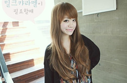 Wholesale Extra Long Brown Wigs - Free shipping Capless extra long high quality synthetic light brown weave hair wigs
