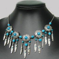 Wholesale Tibetan Style Pendants China - NEW IN TIBET STYLE TIBETAN SILVER TURQUOISE BEADS feather shape PENDANT NECKLACE