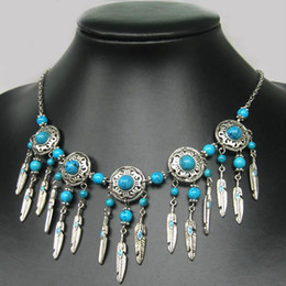 Wholesale Tibetan Silver Beads China - NEW IN TIBET STYLE TIBETAN SILVER TURQUOISE BEADS feather shape PENDANT NECKLACE