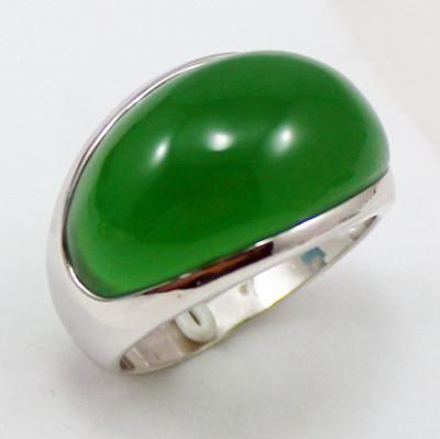 Tibet Solid Silver Natural Green Jade Jewelry Ring Size: 7,8,9 #