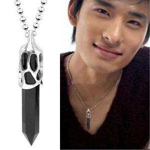 444a86eaa0995 Korean fashion men's necklace titanium steel necklace men jewelry men  necklace resin sections