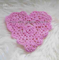 Wholesale Doily Hearts - Free shipping DD03016 Handmade Crochet Heart Coaster Doily 100% eco friendly cotton
