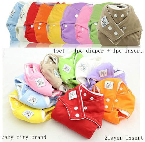 Lowest Price Babycity 10Pc Adjustable Reusable Baby Washable Cloth Diaper Nappies + 10pc cotton Inserts (2Layers) U Choose 9 Color freely