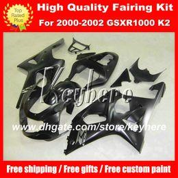 Wholesale K2 Fairing Custom - Custom race fairing kit for SUZUKI GSX R1000 2000 2001 2002 GSXR1000 00 01 02 K2 fairings G2c popular all black aftermarket motorcycle parts
