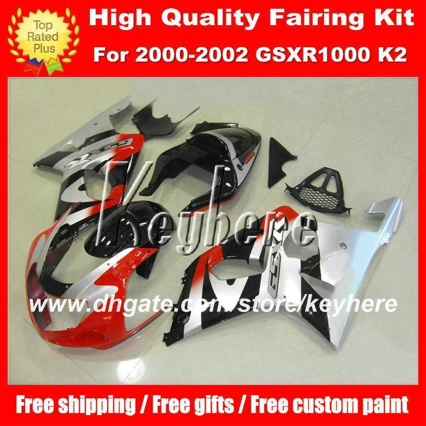SUZUKI GSX R1000 2000 2001 2002 için özel yarış kaporta kiti GSXR1000 00 01 02 K2 fairings G4c sıcak gümüş kırmızı satış sonrası motosiklet parçaları
