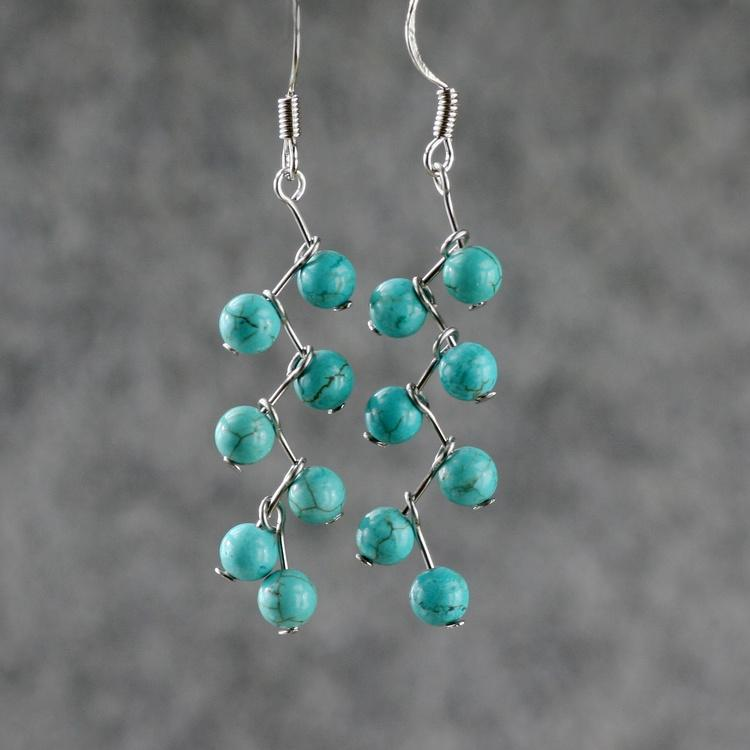 Su Yuan Turquoise Earrings Personalized Handmade
