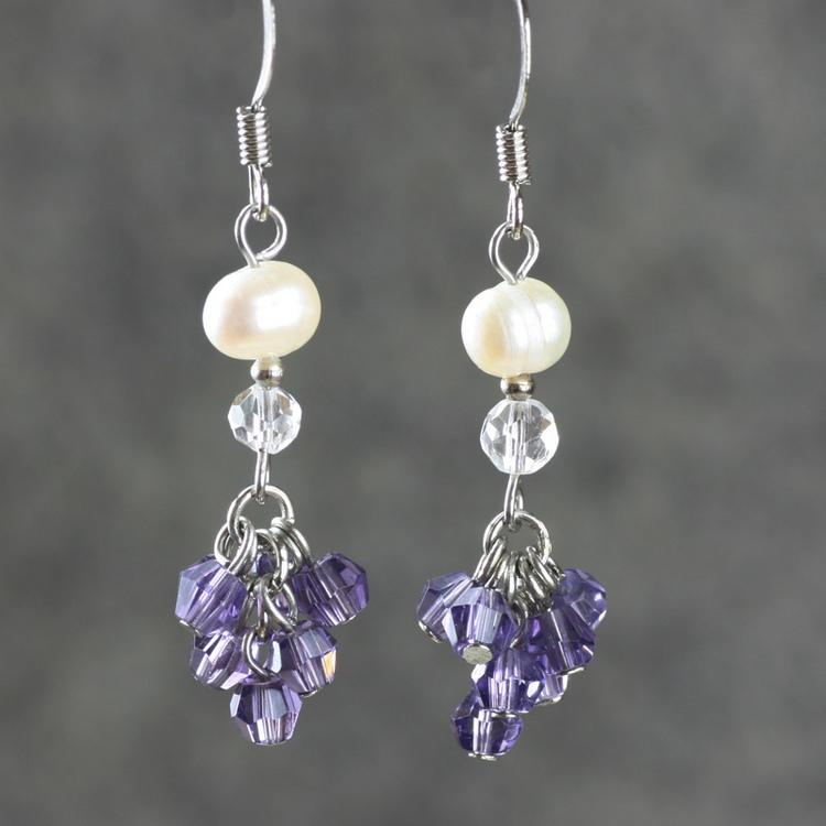 crystals pearls and earrings swarovski driftwood handmade dreaming with