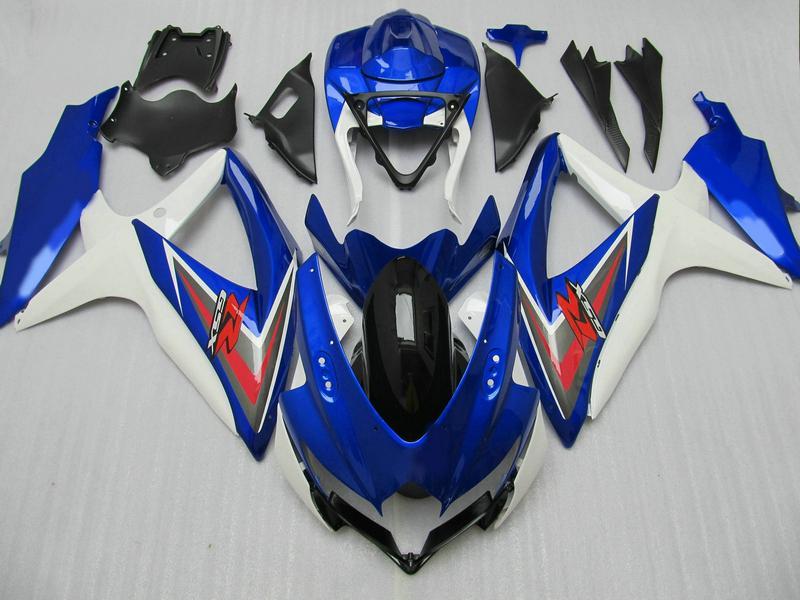 Blue white red fairing kit for GSXR 600 750 2008 2009 K8 GSXR600 GSXR750 08 09 10 custom paint