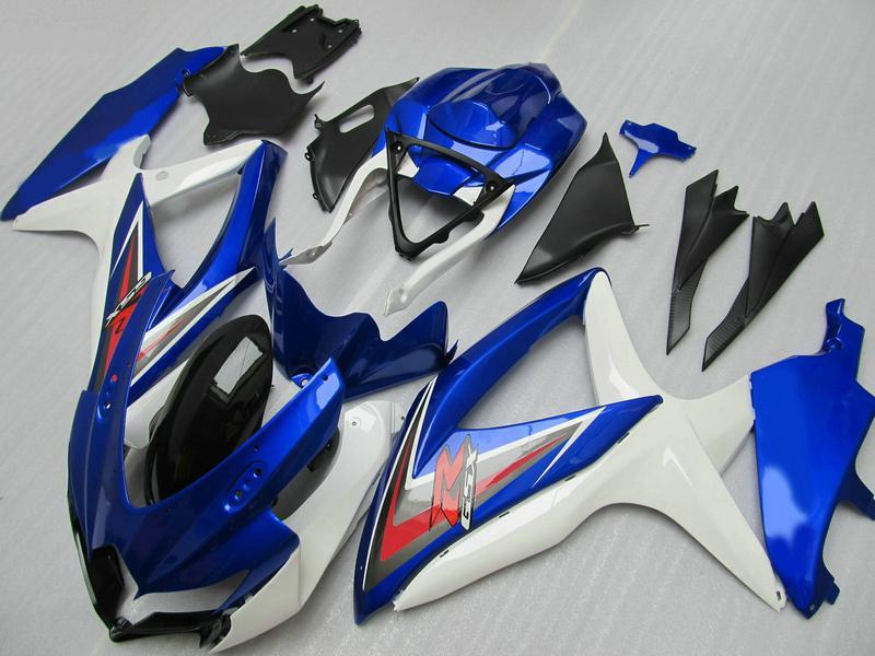 Kit de carenado rojo blanco azul para GSXR 600 750 2008 2009 K8 GSXR600 GSXR750 08 09 10 pintura personalizada