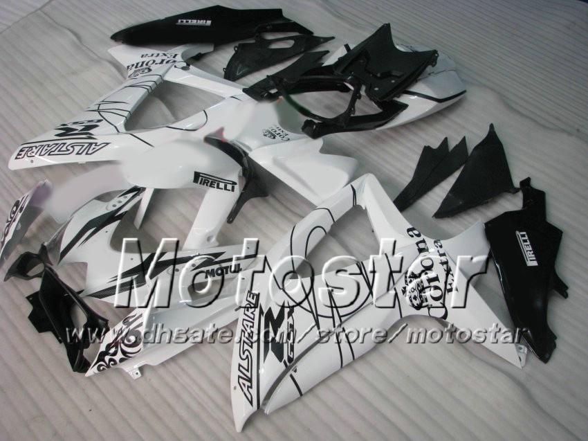 S67 black white Corona Extra Fairing kit FOR SUZUKI GSXR 600 750 2008 2009 K8 GSXR600 GSXR750 08 09 10 GSX-R750 GSX-R600 fairings