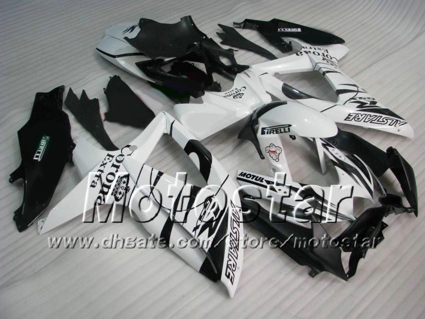 Zwart White Corona Alstare Fairing Kit voor Suzuki GSXR 600 750 2009 2009 2010 Kuip K8 08 09 10 GSX-R750 GSX-R600