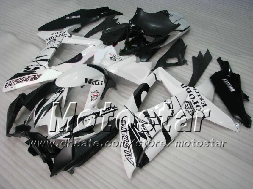 Svart Vit Corona Alstare Fairing Kit för Suzuki GSXR 600 750 2008 2009 2010 Fairing K8 08 09 10 GSX-R750 GSX-R600