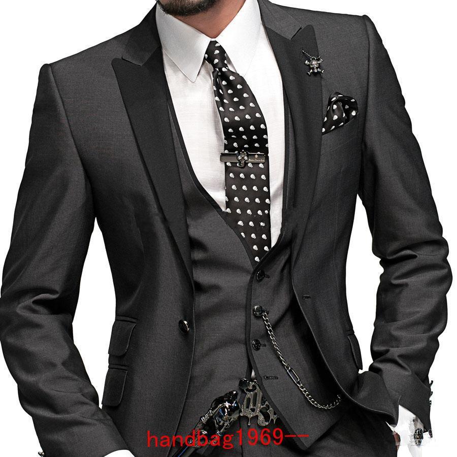 슬림 피트 원 버튼 숯 회색 그루브 턱시도 최고의 남자 피크 블랙 옷깃 신랑 맨 남자 웨딩 수트 신랑 자켓 + 바지 + 타이 + 조끼 F2